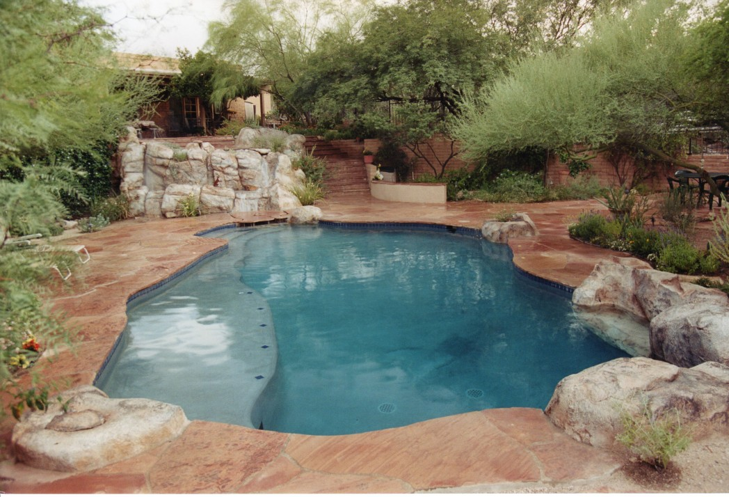 Ventana area pool renovation add spa soften yard for Water garden pools